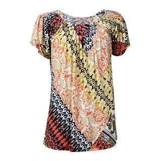 Style & Co Women's Printed Short Sleeve Pleat Blouse