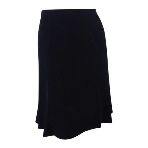 Nine West Women's Plus Size Crepe A-Line Skirt - Black