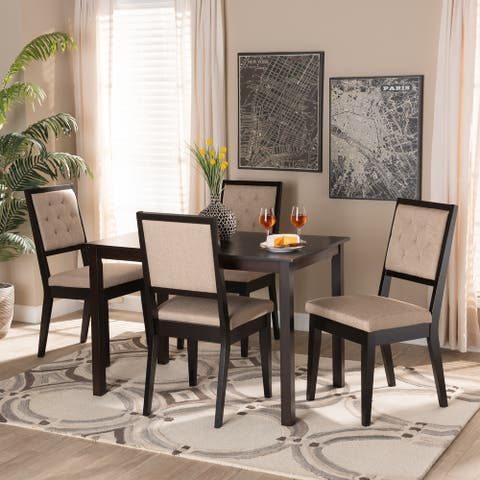 Suvi Modern and Contemporary Oak Wood Dining Set - Sand/Dark Brown