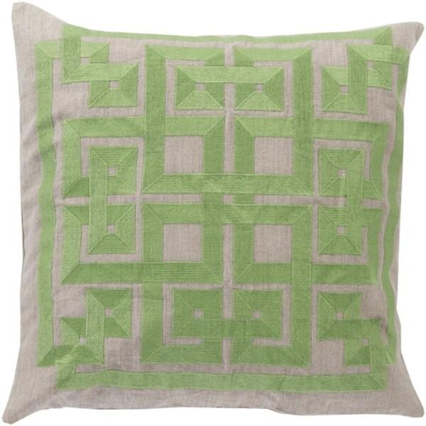 """22"""" Celery Green and Tan Alemeda Decorative Throw Pillow"""