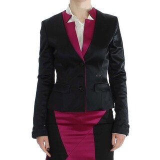 EXTE Black Pink Stretch Blazer Jacket - it40-s