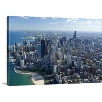 Premium Thick-Wrap Canvas entitled Aerial view of a city, Lake Michigan, Chicago, Cook County, Illinois