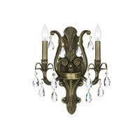 """Crystorama Lighting Group 5563-AB Dawson 2-Light 13"""" Wide Wall Sconce with Clear Hand Cut Crystals"""