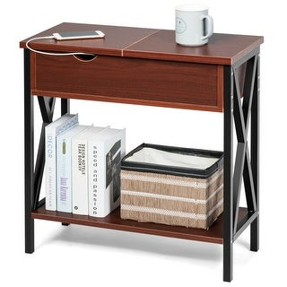 Gymax Flip Top End Table Sofa Side Console Table W/Shelf Hidden Hinged Storage Brown