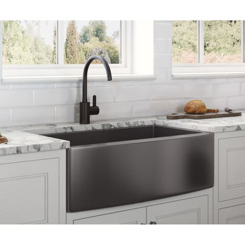 Ruvati 33-inch Apron-Front Farmhouse Kitchen Sink - Gunmetal Black Matte Stainless Steel Single Bowl - RVH9733BL