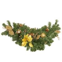 "36"" Pre-Decorated Gold Poinsettia, Apple and Berry Artificial Christmas Swag - Unlit - green"