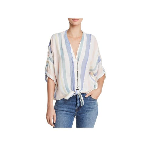 Rails Womens Button-Down Top Tie-Front V-Neck - Pastel Watercolor - L
