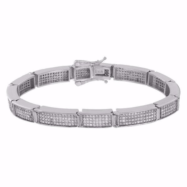 Mens Sterling Silver Bracelet Iced Out lab Diamonds Classy Bling Look