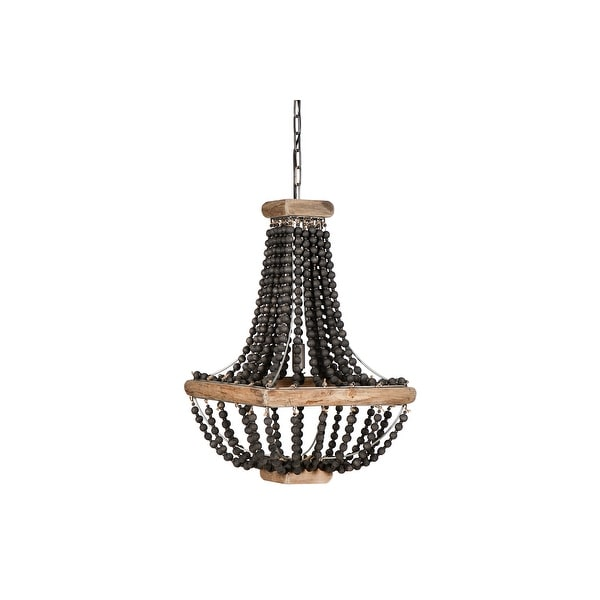 Wood & Metal Framed Chandelier with Wood Bead Draping. Opens flyout.