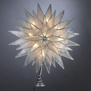"""9"""" Lighted Capiz Glittered Starburst Christmas Tree Topper - Clear Lights"""