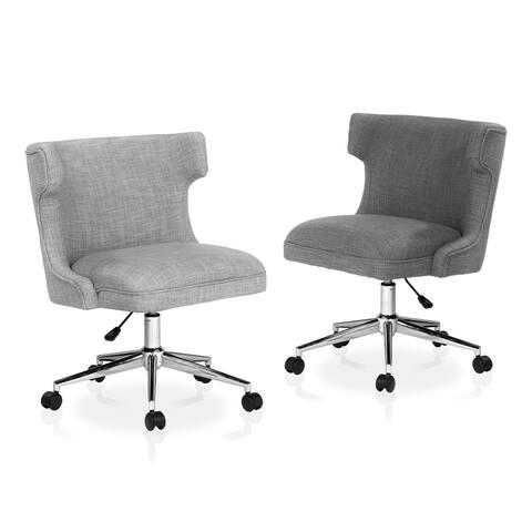 Furniture of America Milton Grey Fabric Wingback Swivel Office Chair