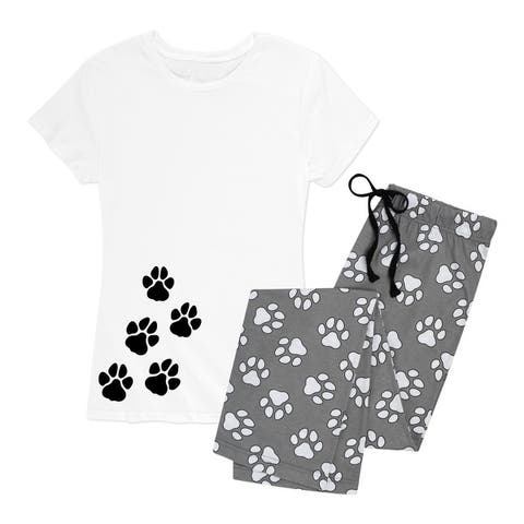 Paw Prints - Women's Pajama Set - White Paw Print