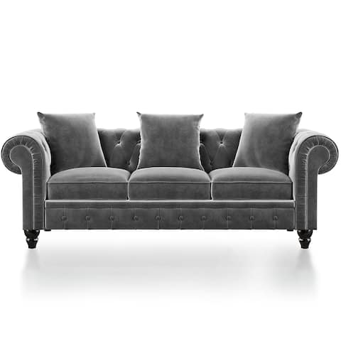 3 Seat Sofa Roll Arm Classic Chesterfield Sofa Set3 Pillows included
