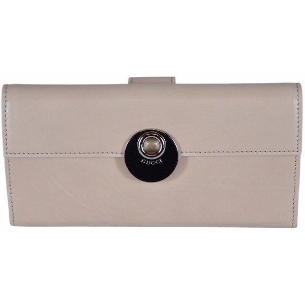 4434ec4eda91 Gucci Women's 231835 LIght Beige Washed Leather Continental W/Coin  Wallet