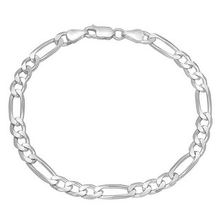 Mcs Jewelry Inc Sterling Silver 925 White Figaro Bracelet 5.4mm (8.5 Inches)