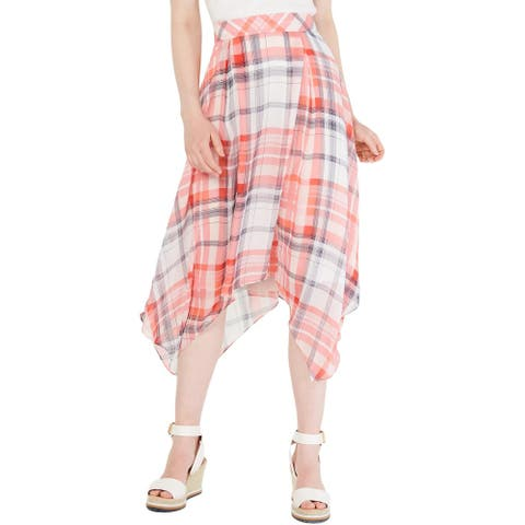 Tommy Hilfiger Womens Maxi Skirt Plaid Handkerchief Hem - White Multi