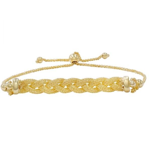 Amanda Rose Braided Bolo Bracelet in 14k Yellow Gold (Adjustable)