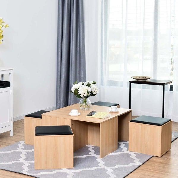 Costway 5 PCS Wood Coffee Table Set living Room Table Set 4 Storage Ottoman Stool