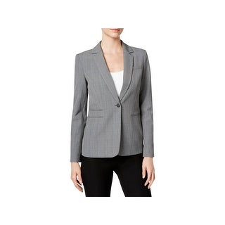 Calvin Klein Womens Petites One-Button Blazer Glen Plaid Button Closure