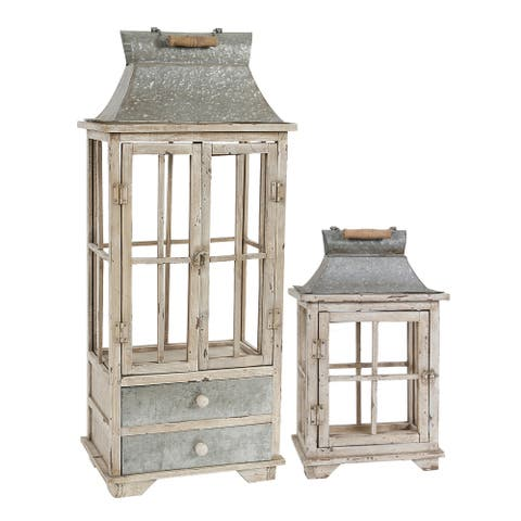 Evelyn Silver and White Enclosed Lantern Set with Handle and Drawers (Set of 2)