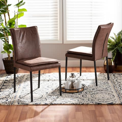 Gerard Modern Upholstered and Metal 2-PC Dining Chair Set