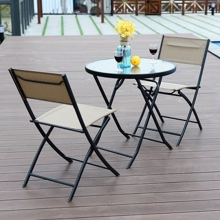 Costway 3 Piece Table Chair Set Metal Tempered Glass Folding Outdoor Patio Garden Pool