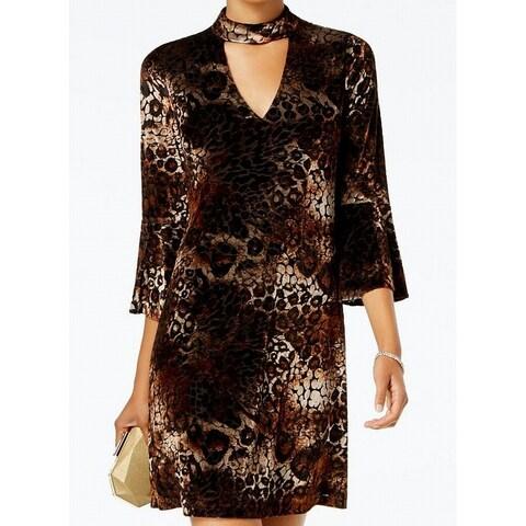 Jessica Howard Black Womens Velvet Animal-Print A-Line Dress
