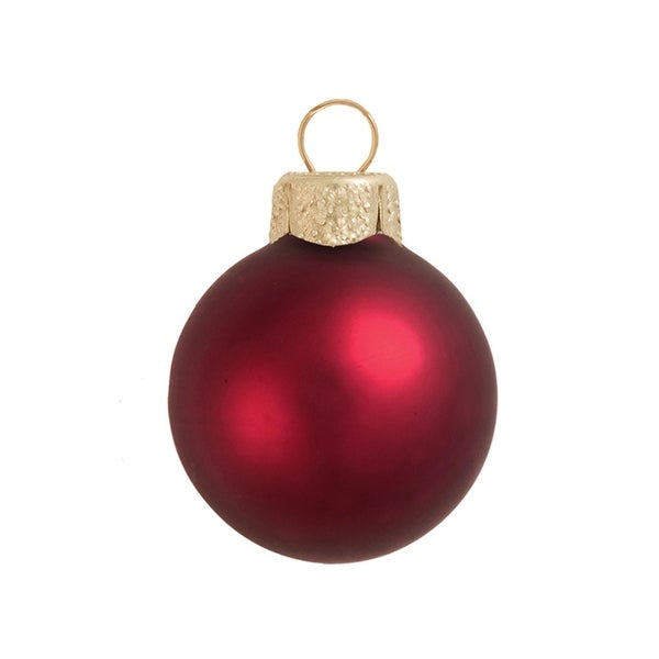 "40ct Matte Bordeaux Red Glass Ball Christmas Ornaments 1.25"" (30mm)"