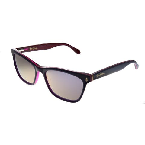 Lilly Pulitzer LP Lucca BE Womens Berry Frame Pink Mirror Lens Sunglasses