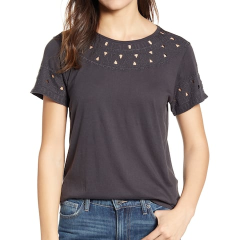 Lucky Brand Women's Top Charcoal Gray Size Medium M Knit Embroidered