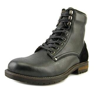 Aldo Ted Men  Round Toe Leather Black Combat Boot