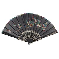 "Unique Bargains 17.3"" Scalloped Rim Golden Tone Folding Frame Scalloped Rim Hand Fan"
