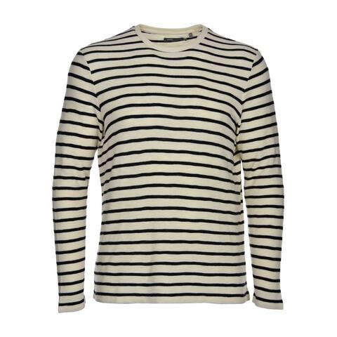 Vince Men's Cotton Crewneck Sweater XX-Large XXL 2XL Beige and Navy Stripes