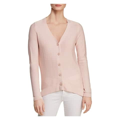 Donna Karan Womens Cardigan Top Polka Dot Ribbed Trim - M