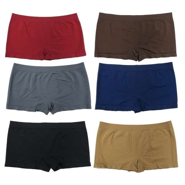 Women 6 Pack Seamless Assorted Solid Color Plain Boyshorts Panties