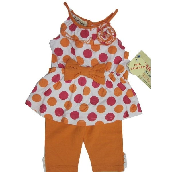 Carter's Baby Girls Orange Pink Dotted Ruffle Flower Bow 2 Pc Pants Set 12-24M