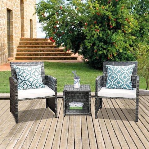 Outdoor Wicker Rattan 3 piece Conversation Set Patio Furniture Set