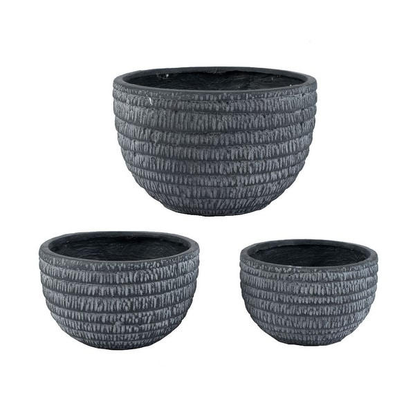 """Set of 3 Blue Low Round Pot with White Net Finish 11"""" - N/A"""