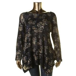 Nally & Millie Womens Plus Handkerchief Hem Floral Print Pullover Sweater