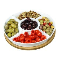 12.25 in. 6 Piece Lazy Susan Appetizer & Condiment Server Set with 5