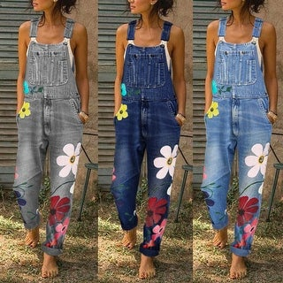 Denim Overalls With Colorful Flowers Accents, S-5X
