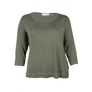 Calvin Klein Women's Stud Embellished Scoop Neck Blouse - s