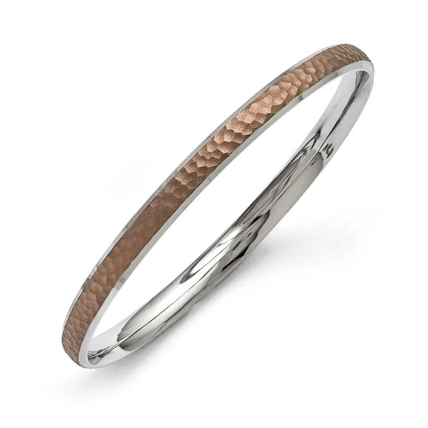 Chisel Stainless Steel Polished/Laser Cut Brown IP-plated Hammred Bangle