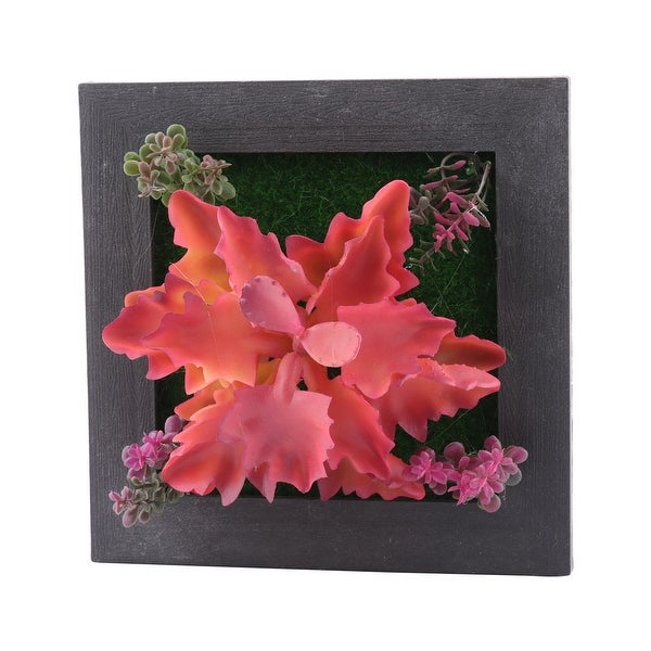 Living Room Plastic Wall Hanging Artificial Succulent Plant Flower Decor Frame