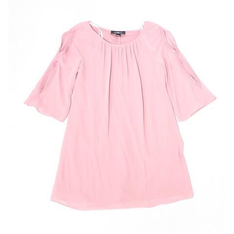 Amy Byer Girl's Dress Mauve Pink Size 16 Lace-Trim Split-Sleeve Solid