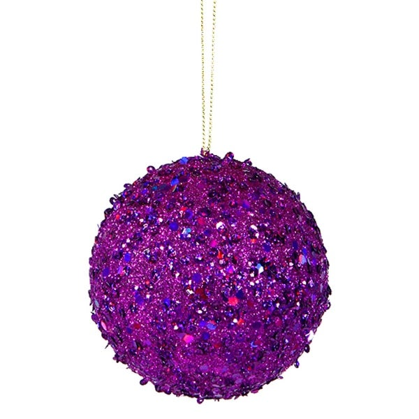 "Fancy Purple Holographic Glitter Drenched Christmas Ball Ornament 3"" (80mm)"