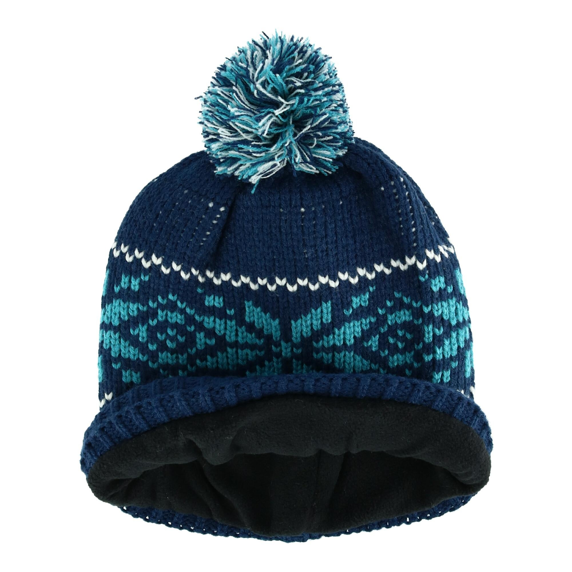 UNISEX MENS  LADIES KNITTED PERUVIAN HAT FLEECE LINED  EARFLAPS BLUE SNOWFLAKE