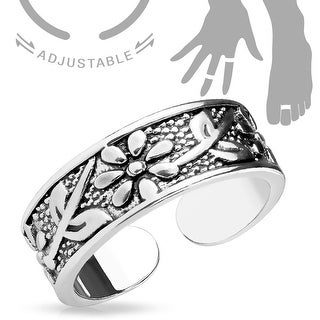 Antique Silver/Flowers Adjustable Toe Ring/Mid Ring (Sold Ind.)