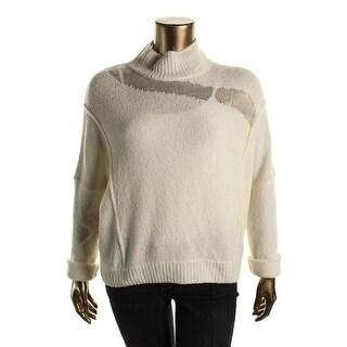Elie Tahari Womens Della Mock Turtleneck Sweater Wool Blend Open Stitch Detail