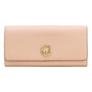 Michael Kors Signature Fulton Flap Continental Leather Carryall Wallet, Pastel Pink